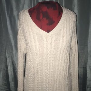 Cable knit sweater oatmeal tan cream v neck M